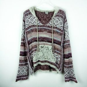American Rag boho sweater with crochet lace detail